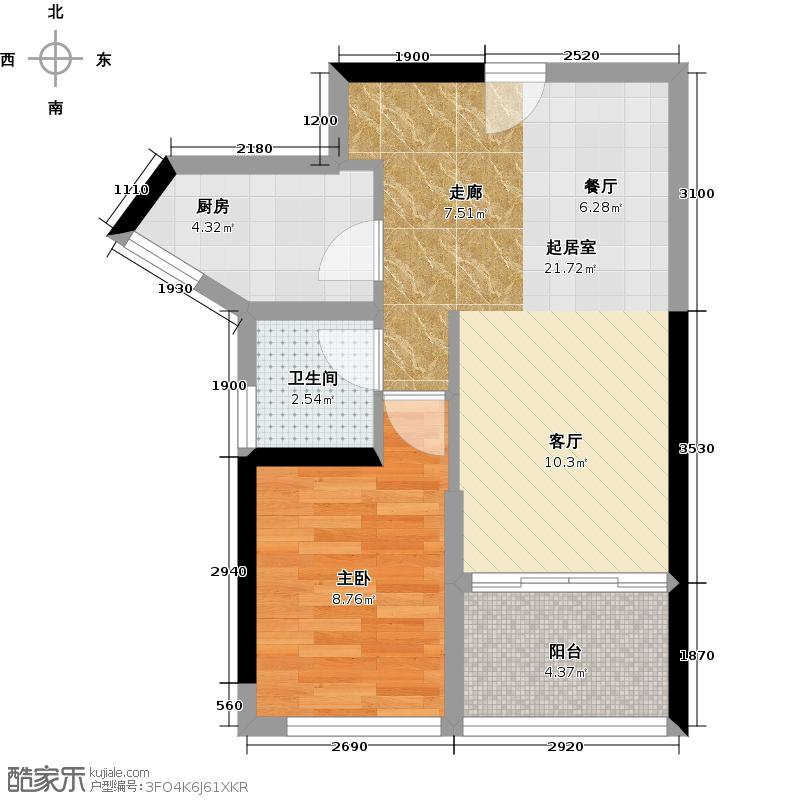 益田大运城邦悦城58.82㎡1栋1单元户型1室1卫1厨