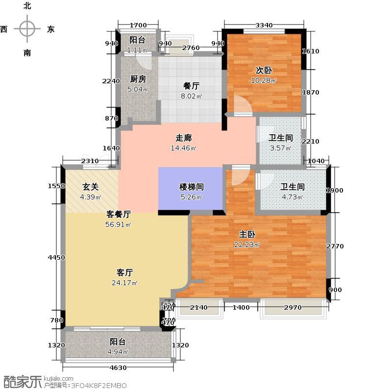 华宇上院116.79㎡18号楼2单元7楼层号户型2室1厅2卫