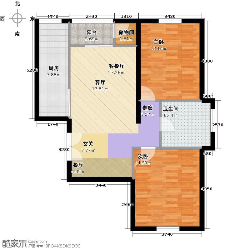武夷・城市左岸1号楼261单元02两室户型2室1厅1卫1厨