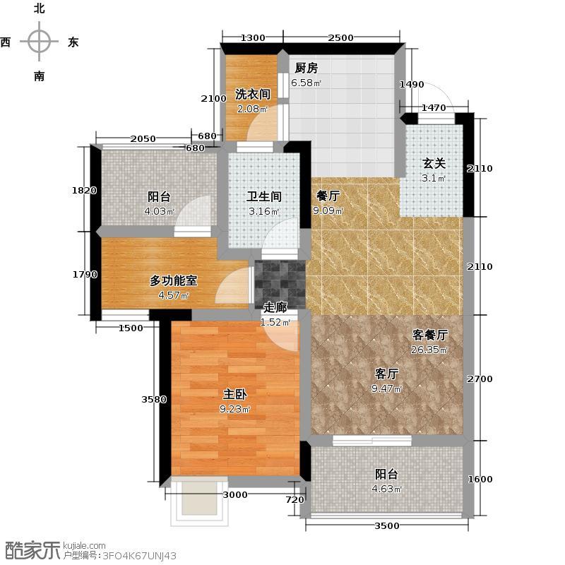 东原西岸2-B型赠送户型1室1厅1卫