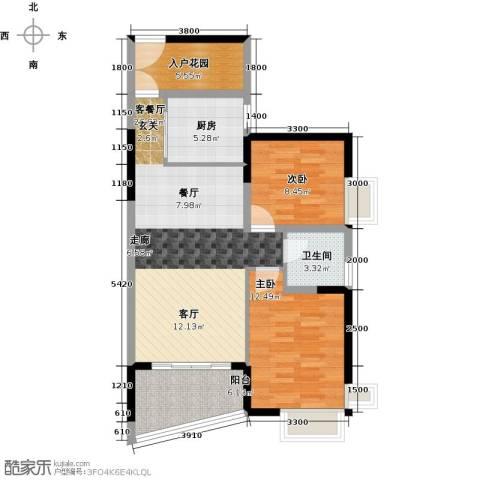 香樟国际2室1厅1卫1厨97.00㎡户型图