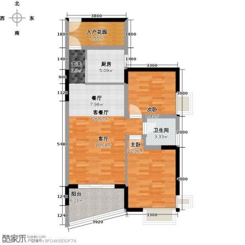 香樟国际2室1厅1卫1厨89.00㎡户型图