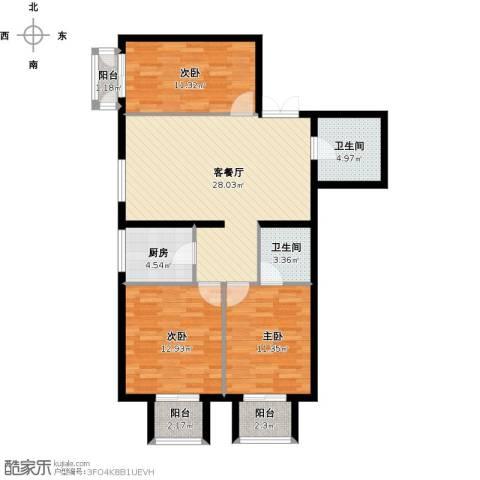 怡安皇庭3室1厅2卫1厨117.00㎡户型图