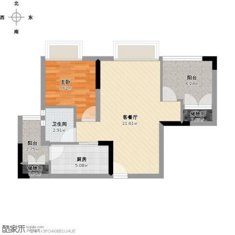 怡安皇庭1室1厅1卫1厨70.00㎡户型图