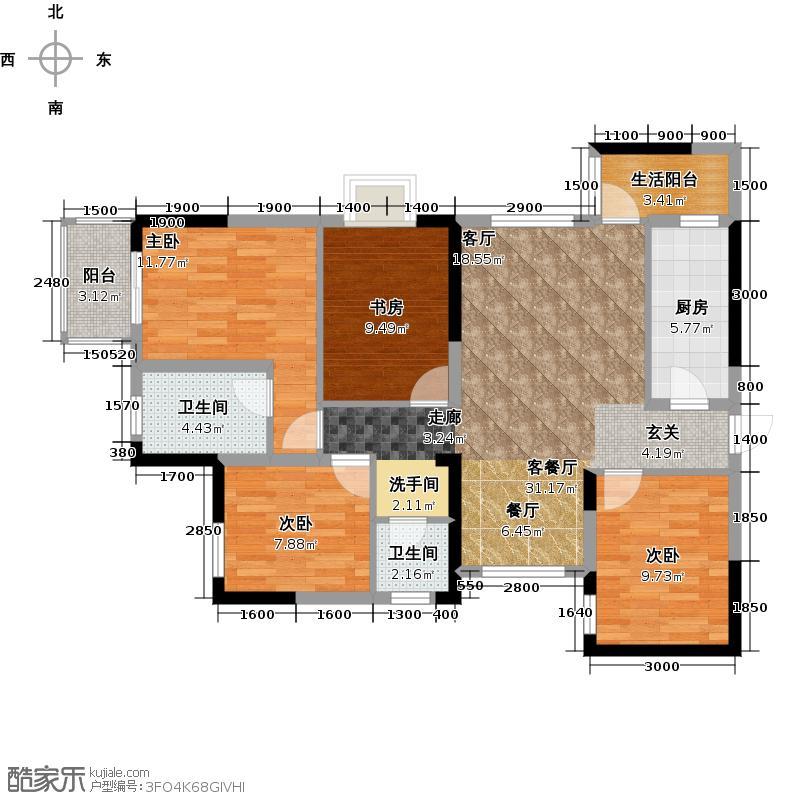 泰达上青城户型4室1厅2卫1厨