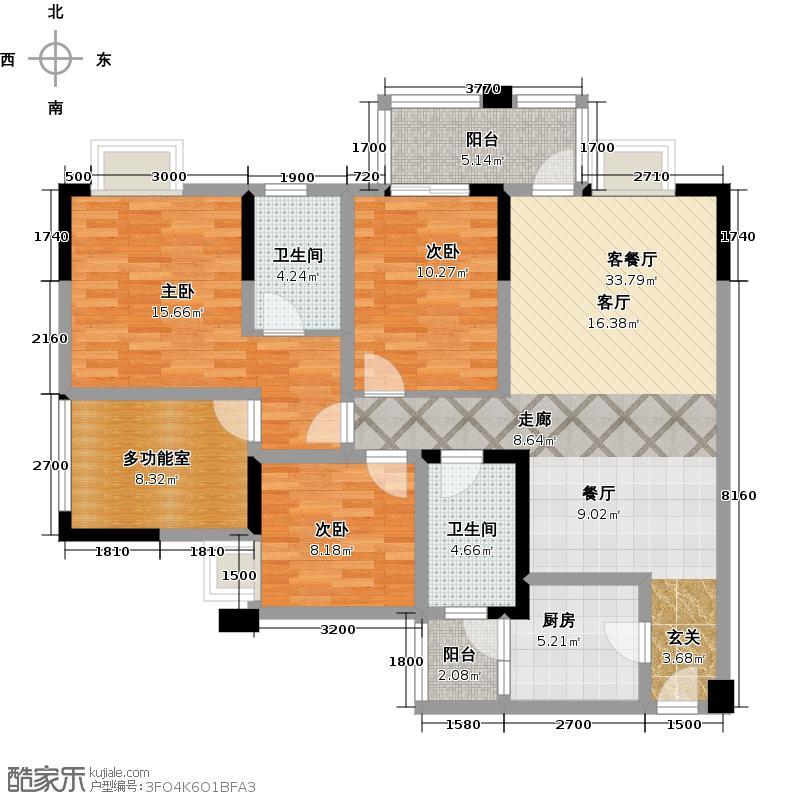 凯斯顿华府2011年6月三期A-4a型户型3室1厅2卫1厨