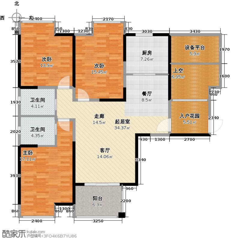 观山名筑高层19号34号35号楼G1户型3室2卫1厨