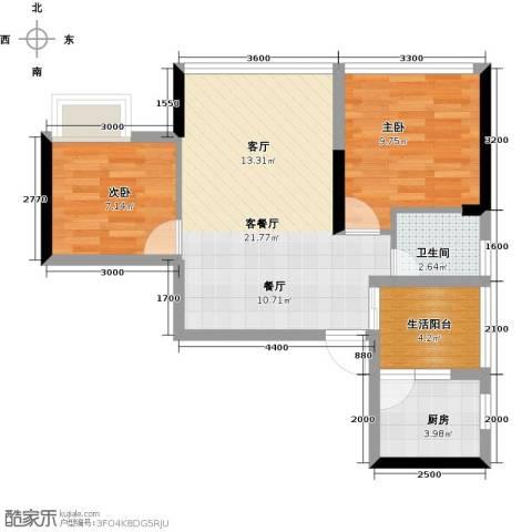 朝兴龙城国际2室1厅1卫1厨54.00㎡户型图