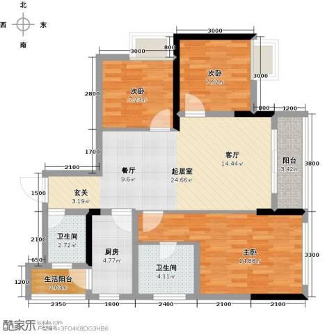 朝兴龙城国际3室0厅2卫1厨82.00㎡户型图