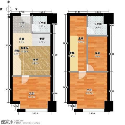 宝能青春汇3室1厅2卫0厨55.00㎡户型图