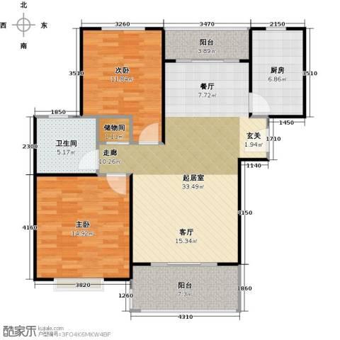 三花现代城三期2室0厅1卫1厨91.00㎡户型图
