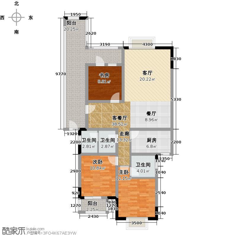 8号公馆D-3户型3室1厅3卫1厨