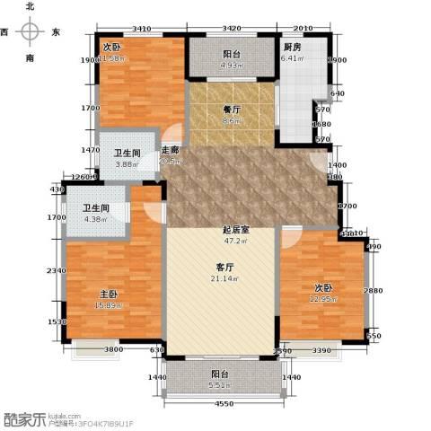 中粮南桥半岛3室0厅2卫1厨125.00㎡户型图