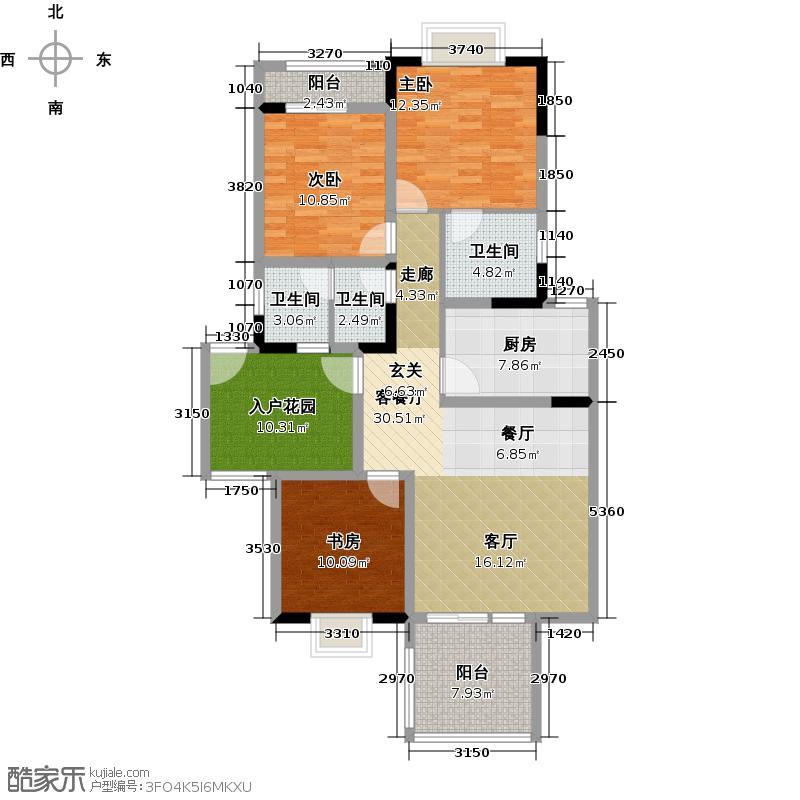 8号公馆A-6六层户型3室1厅3卫1厨