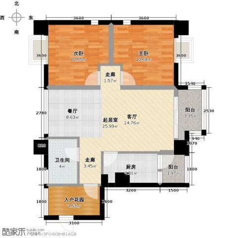木鱼石水木年华2室0厅1卫1厨95.00㎡户型图