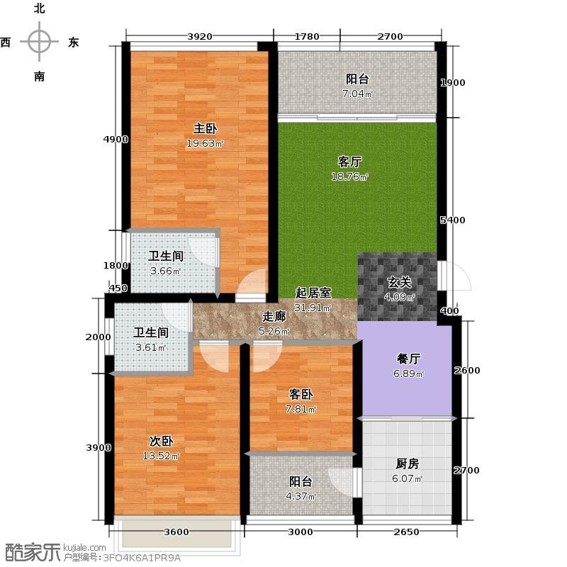经典上城A-24栋3-7层双卫户型3室2卫1厨
