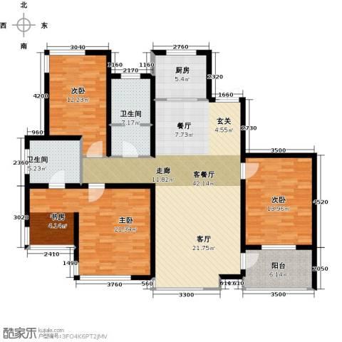 松江运河城3室1厅2卫1厨160.00㎡户型图