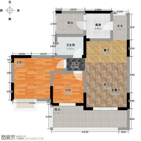 祥和御馨园二期2室1厅1卫1厨95.00㎡户型图