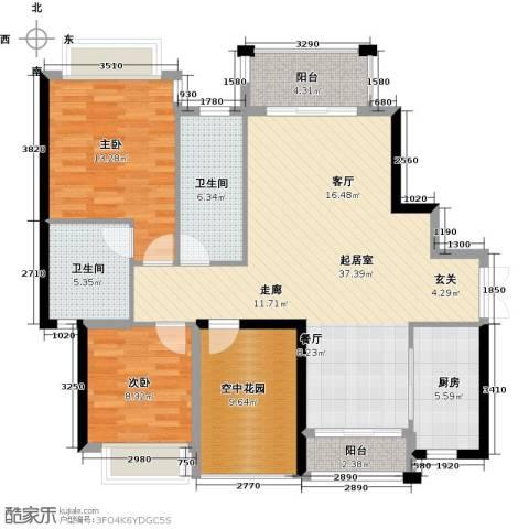 碧水云天二期中央公馆2室0厅2卫1厨115.00㎡户型图