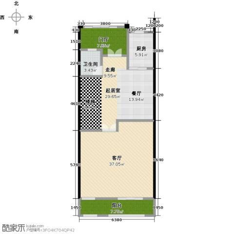 晋愉碧怡林畔东岸1厅1卫1厨127.00㎡户型图