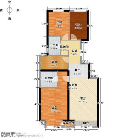 北京城建・上河湾3室0厅2卫1厨120.00㎡户型图