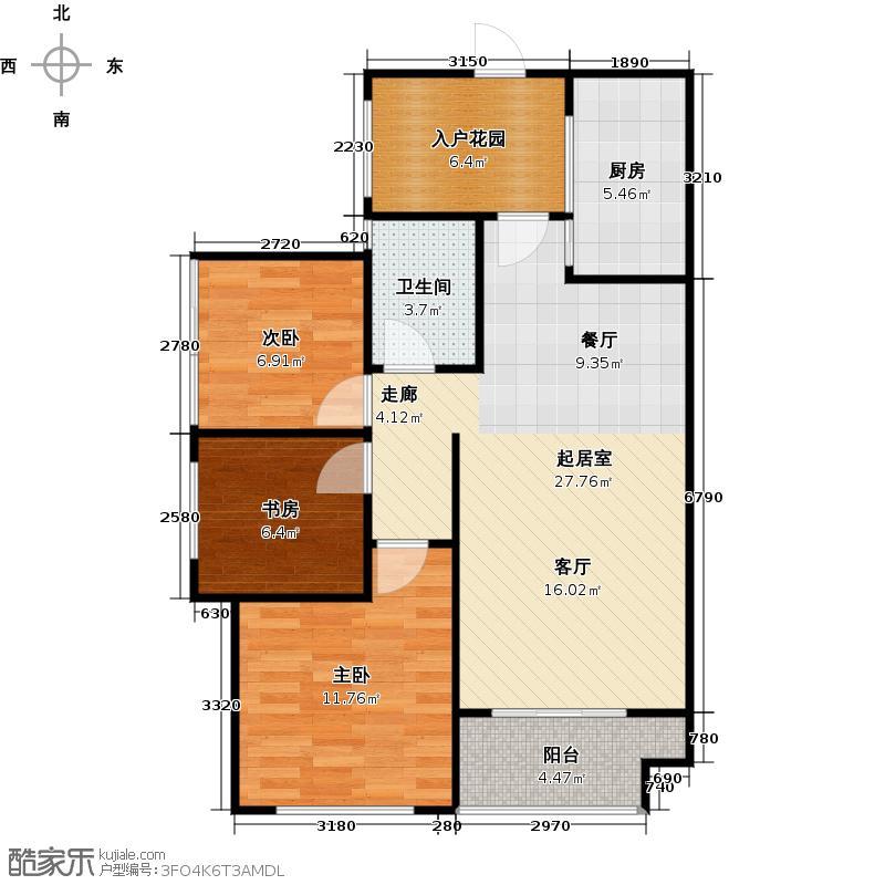 翡翠明珠15号楼E户型3室1卫1厨