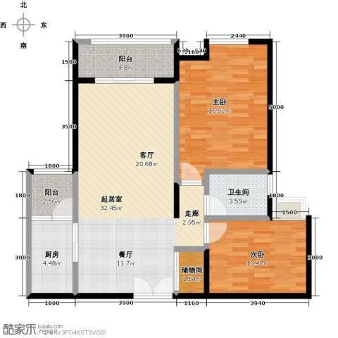 如意汇景2室0厅1卫1厨96.00㎡户型图