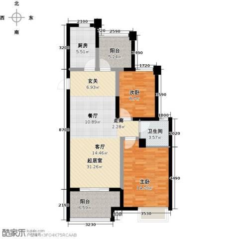 启迪方洲2室0厅1卫1厨87.00㎡户型图