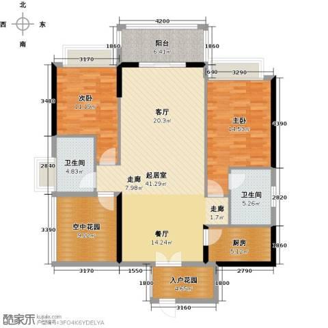 碧水云天二期中央公馆2室0厅2卫1厨123.00㎡户型图