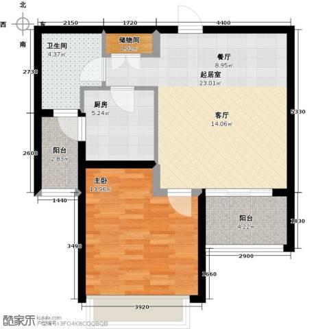 嘉实上城名都1室0厅1卫1厨63.00㎡户型图