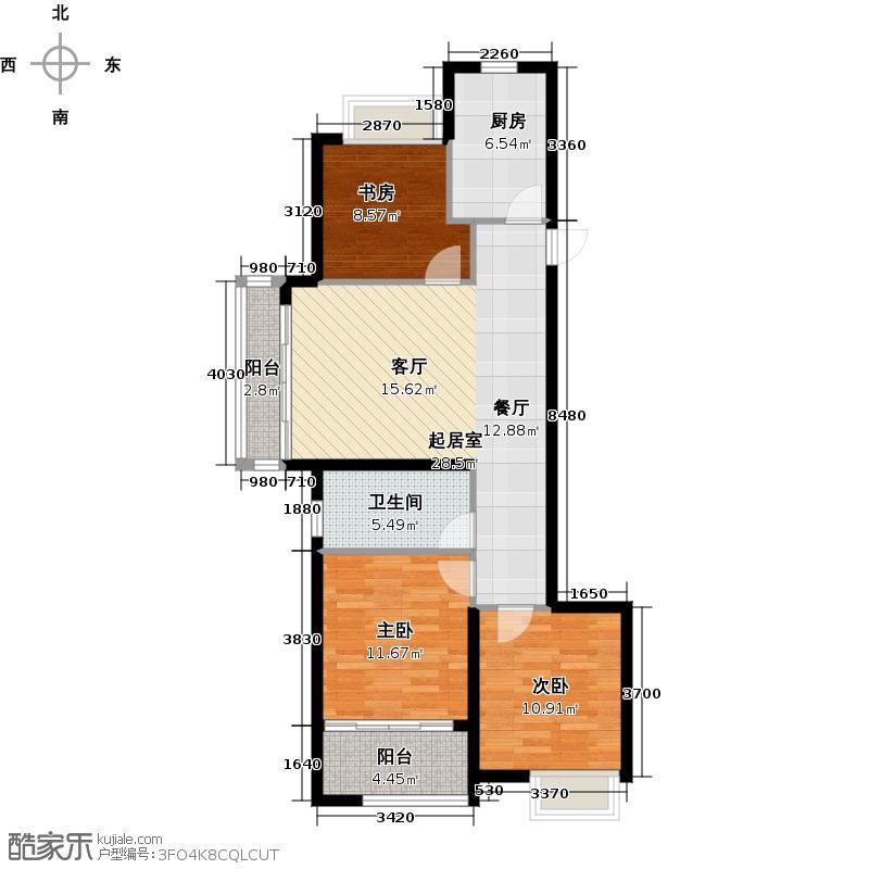龙湖紫悦湾90.00㎡户型3室1卫1厨