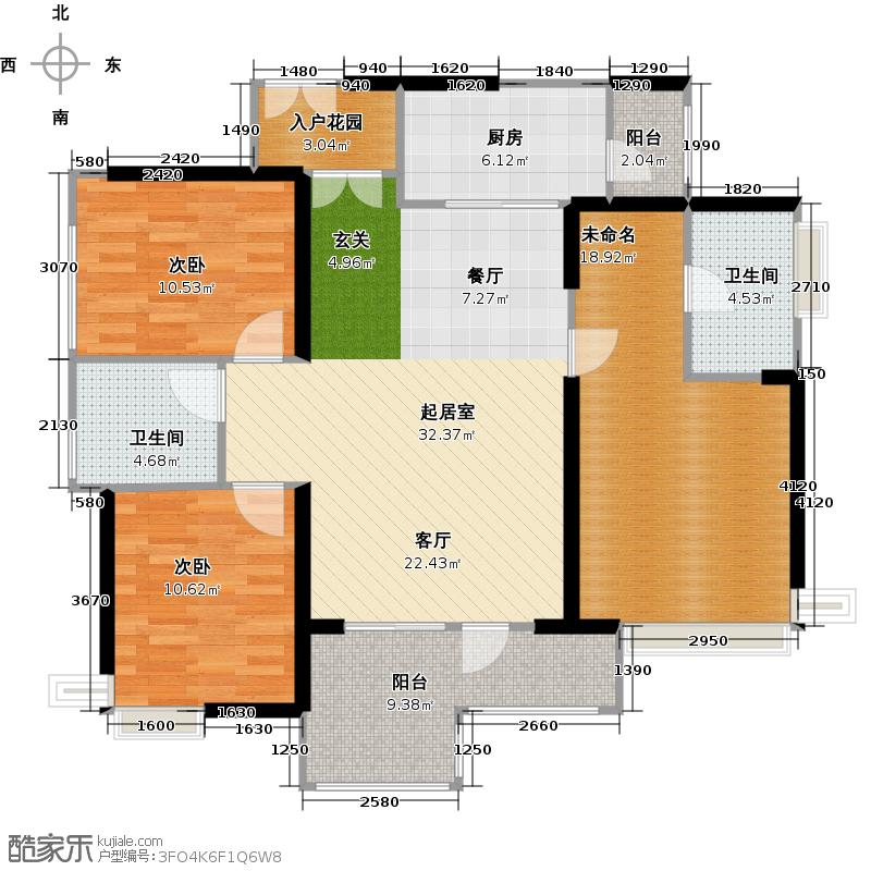 中国铁建荔湾国际城3栋2~33层01户型2室2卫1厨