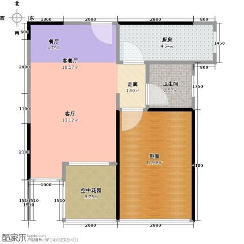 3号线城市公寓1厅1卫1厨55.00㎡户型图