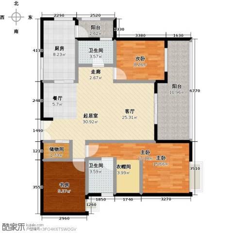 如意汇景3室0厅2卫1厨122.00㎡户型图
