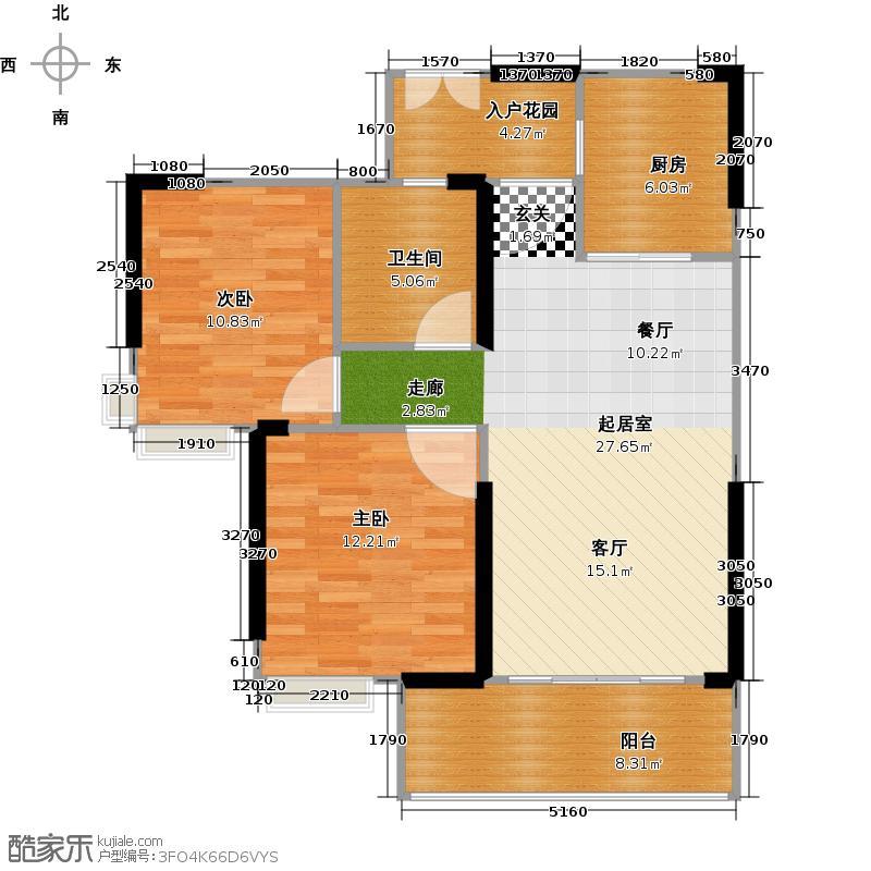 中国铁建荔湾国际城2栋2单元2~32层02户型2室1卫1厨