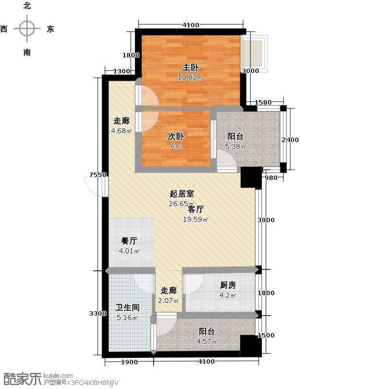 木鱼石水木年华3期2、4、5号楼标准层B3户型2室1卫1厨