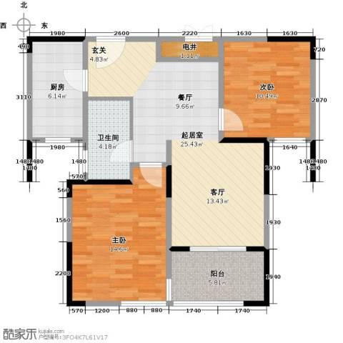 骏丰玲珑坊2室0厅1卫1厨95.00㎡户型图