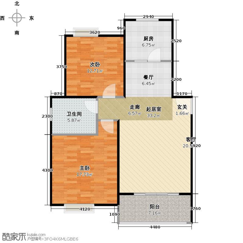 三花现代城三期户型2室1卫1厨