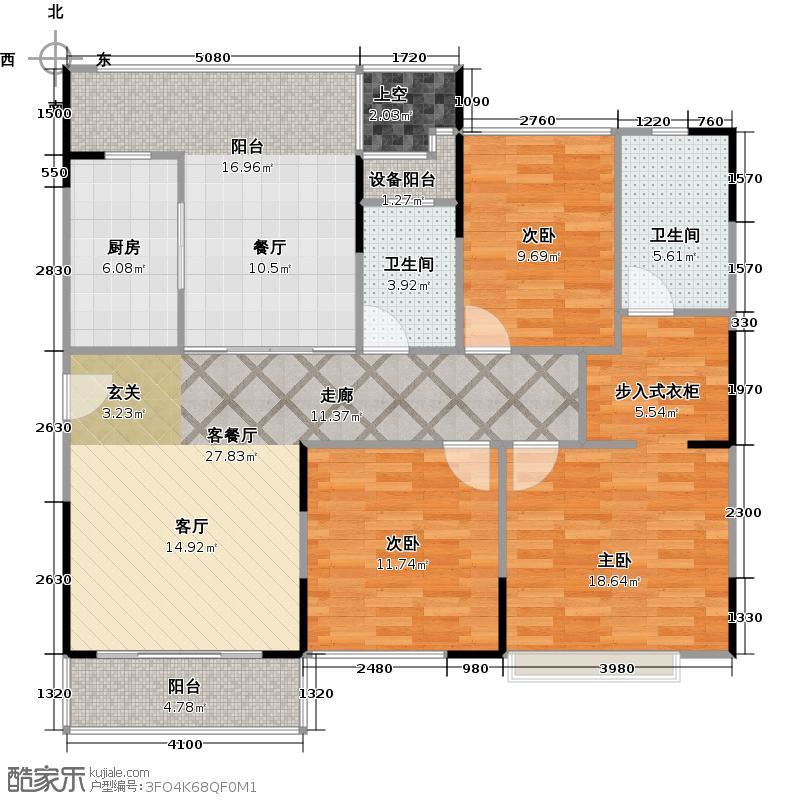 万科府前一号C2丨C11-01户型3室1厅2卫1厨