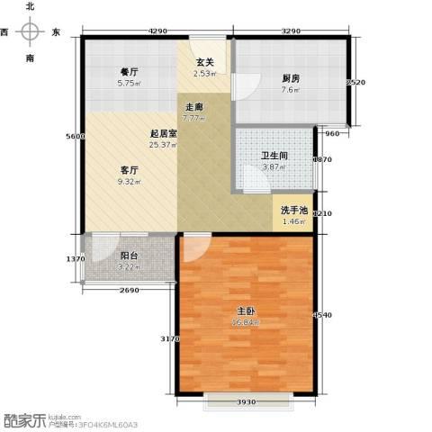三花现代城三期1室0厅1卫1厨76.00㎡户型图