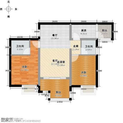 木鱼石水木年华2室0厅2卫1厨91.00㎡户型图