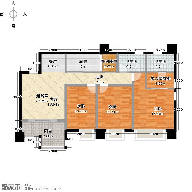 木鱼石水木年华3期5号楼标准层C3户型3室2卫1厨