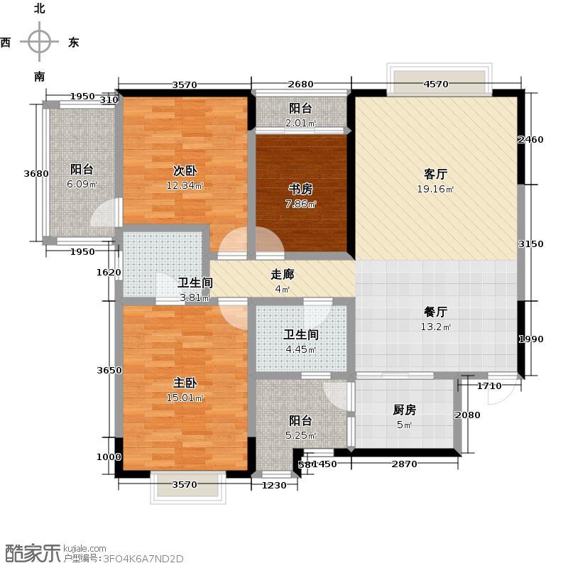 西锦国际广场N户型3室2卫1厨
