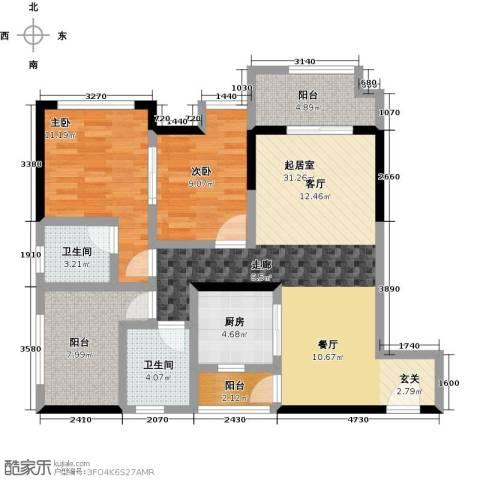 同景优活城2室0厅2卫1厨116.00㎡户型图