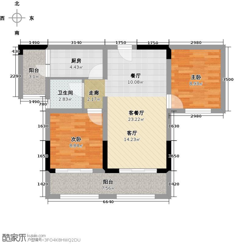 金科廊桥水乡二期145号楼标准层B2户型2室1厅1卫1厨