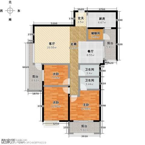 丰泰观山碧水二期3室0厅2卫1厨141.00㎡户型图