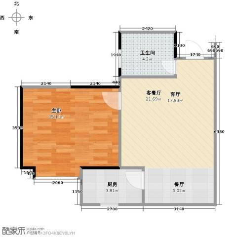 锦绣江南二期1室1厅1卫1厨60.00㎡户型图