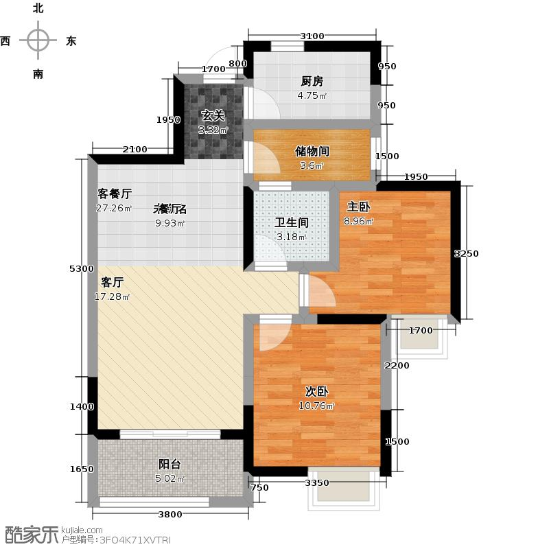 中大君悦金沙B1户型2室1厅1卫1厨