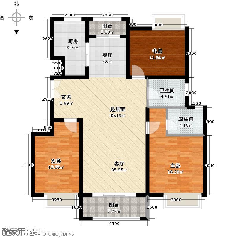 中国铁建青秀城125.00㎡D1户型3室2卫1厨