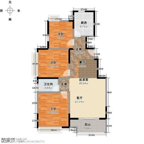 中粮南桥半岛3室0厅1卫1厨98.00㎡户型图